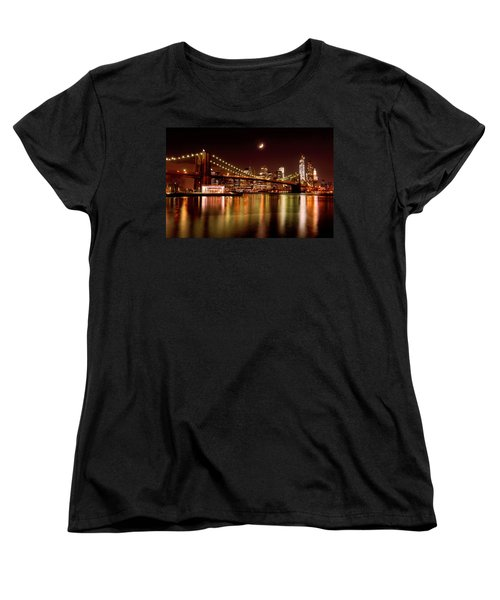 Moon Over The Brooklyn Bridge Women's T-Shirt (Standard Cut) by Mitchell R Grosky