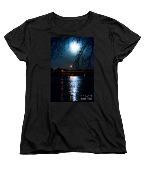 Moon Set Lake Pleasurehouse Women's T-Shirt (Standard Cut) by Angela DeFrias