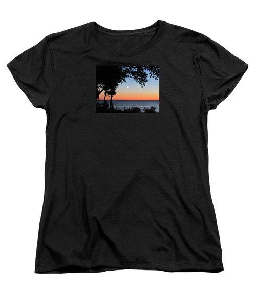 Moon Sliver At Sunset Women's T-Shirt (Standard Cut) by David T Wilkinson