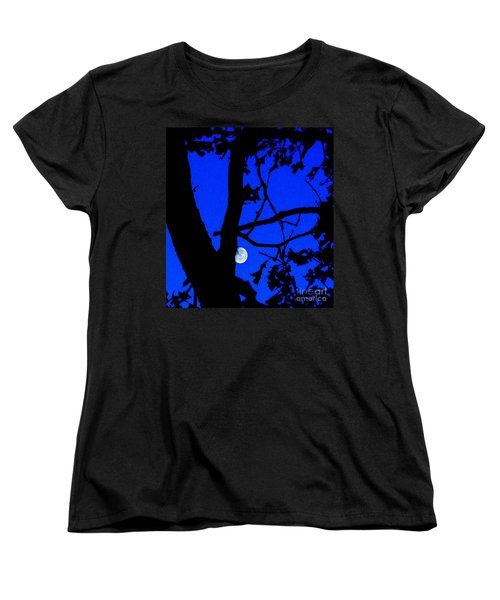 Women's T-Shirt (Standard Cut) featuring the photograph Moon Through Trees 2 by Janette Boyd