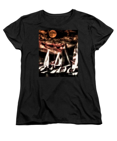 Women's T-Shirt (Standard Cut) featuring the tapestry - textile Moonlight Cruise by Robert McCubbin