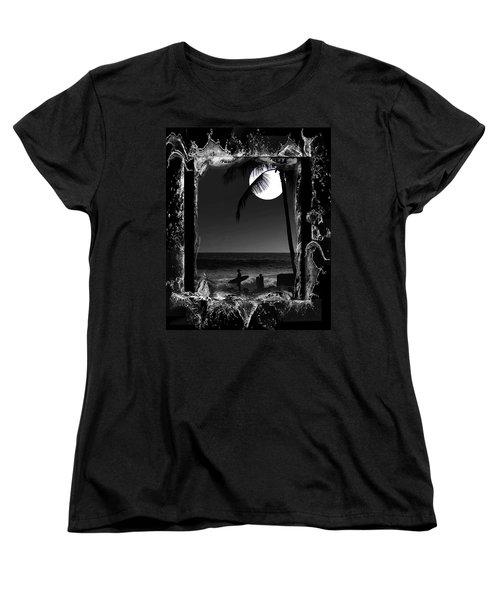 Women's T-Shirt (Standard Cut) featuring the photograph Moonlight Surf by Athala Carole Bruckner