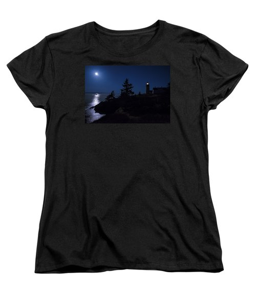 Women's T-Shirt (Standard Cut) featuring the photograph Moonlit Panorama West Quoddy Head Lighthouse by Marty Saccone