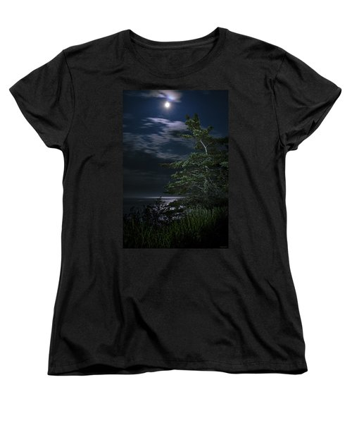Women's T-Shirt (Standard Cut) featuring the photograph Moonlit Treescape by Marty Saccone