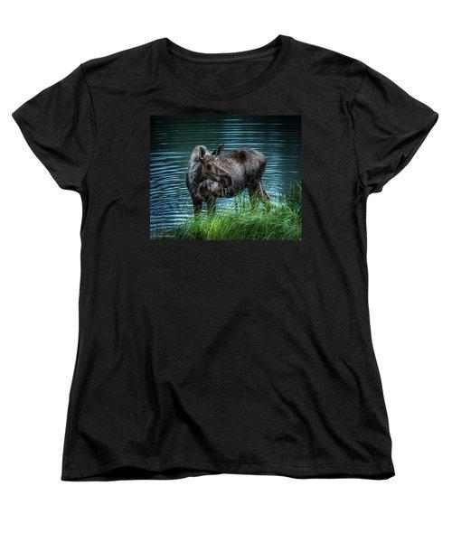 Moose In The Water Women's T-Shirt (Standard Cut) by Andrew Matwijec