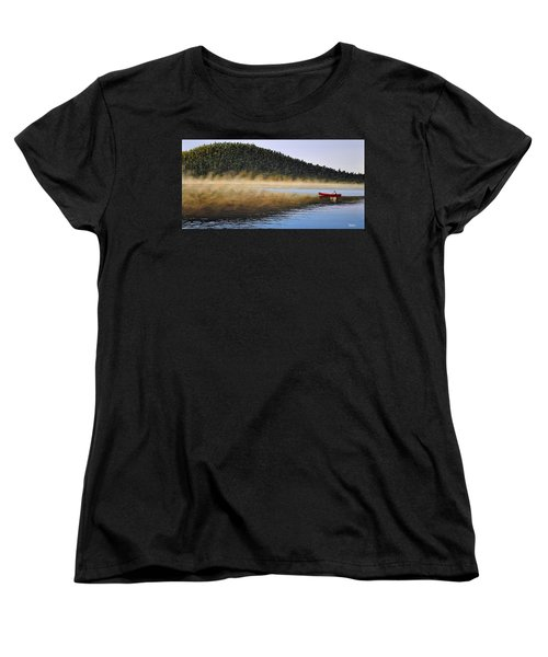 Women's T-Shirt (Standard Cut) featuring the painting Moose Lake Paddle by Kenneth M  Kirsch