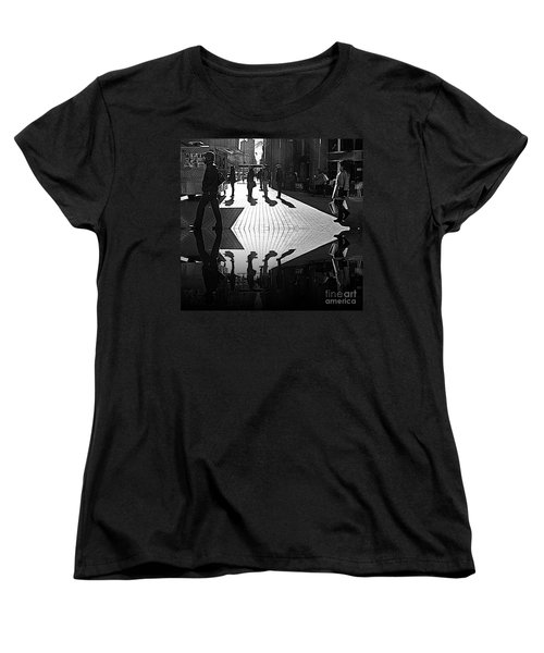 Women's T-Shirt (Standard Cut) featuring the photograph Morning Coffee Line On The Streets Of New York City by Lilliana Mendez