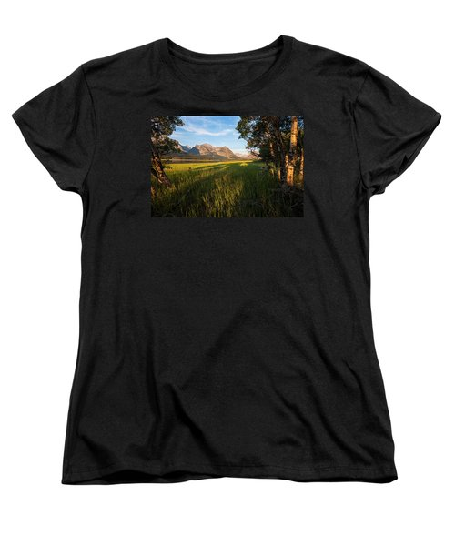 Women's T-Shirt (Standard Cut) featuring the photograph Morning In The Mountains by Jack Bell