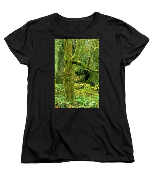 Women's T-Shirt (Standard Cut) featuring the photograph Moss Draped Big Leaf Maple California by Dave Welling