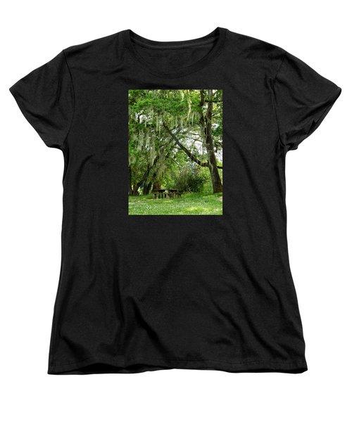 Women's T-Shirt (Standard Cut) featuring the photograph Moss Drapery by VLee Watson