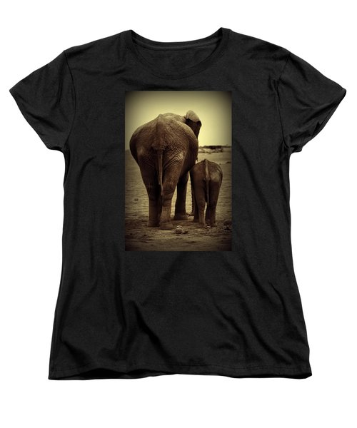 Mother And Baby Elephant In Black And White Women's T-Shirt (Standard Cut) by Amanda Stadther