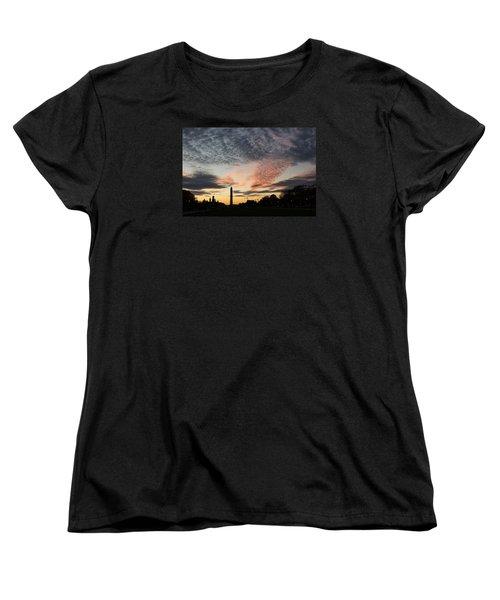 Mother Nature Painted The Sky Over Washington D C Spectacular Women's T-Shirt (Standard Cut) by Georgia Mizuleva