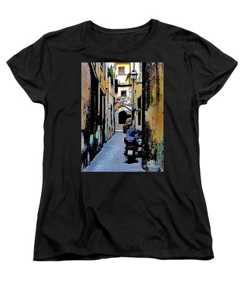 Women's T-Shirt (Standard Cut) featuring the digital art Motorcyle In Florence Alley by Jennie Breeze