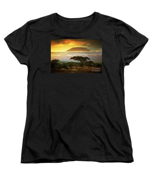Mount Kilimanjaro Savanna In Amboseli Kenya Women's T-Shirt (Standard Cut) by Michal Bednarek