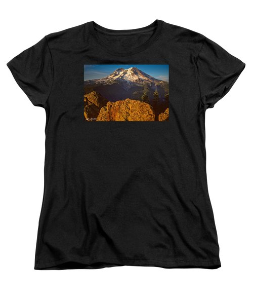 Women's T-Shirt (Standard Cut) featuring the photograph Mount Rainier At Sunset With Big Boulders In Foreground by Jeff Goulden