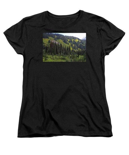 Women's T-Shirt (Standard Cut) featuring the photograph Mount Rainier Ridges And Fir Trees.. by Tom Janca