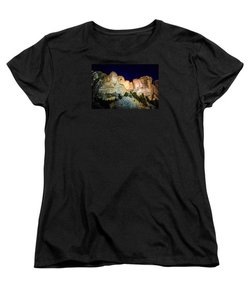 Mount Rushmore At Night Women's T-Shirt (Standard Cut) by Penny Lisowski