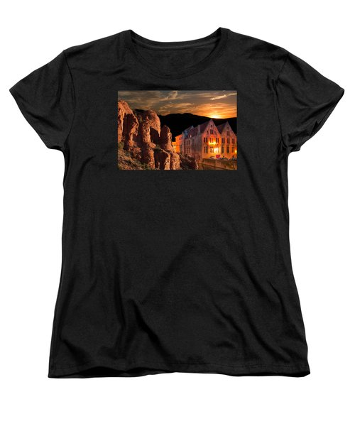 Mountain Sunset Women's T-Shirt (Standard Cut) by Fred Larson