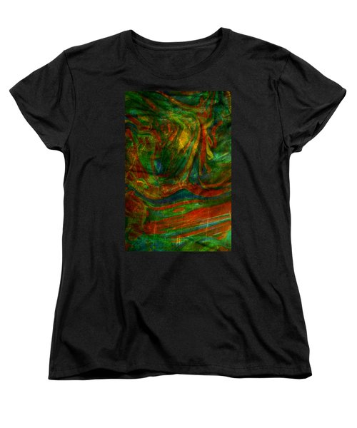 Women's T-Shirt (Standard Cut) featuring the mixed media Mountains In The Rain by Ally  White
