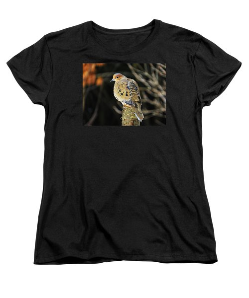 Mourning Dove On Post Women's T-Shirt (Standard Cut) by MTBobbins Photography