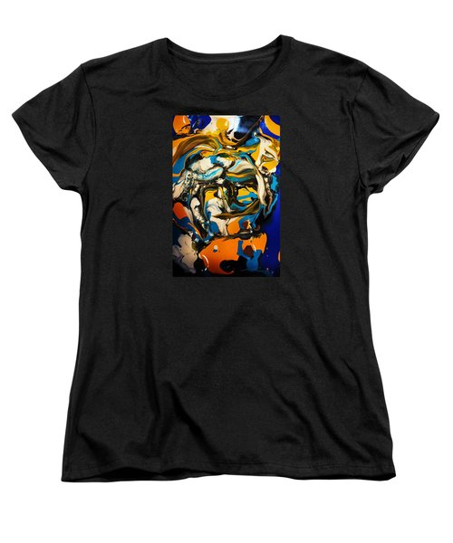 Women's T-Shirt (Standard Cut) featuring the painting Mr. Rainbow With A Fried Egg Sunny Side Up by Kicking Bear  Productions