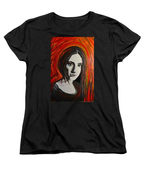 Women's T-Shirt (Standard Cut) featuring the painting Portrait In Black #x by Sandro Ramani