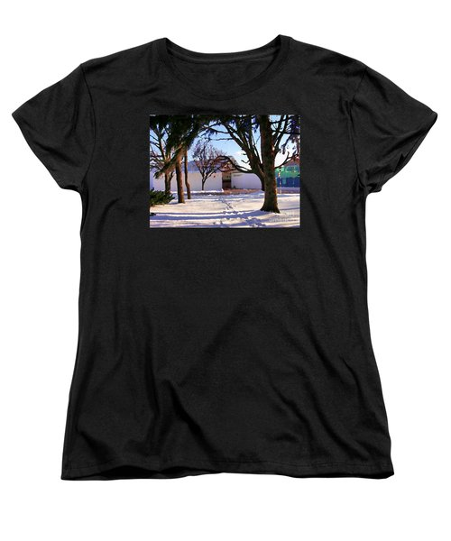 Women's T-Shirt (Standard Cut) featuring the photograph Abstract Of Center For The Arts Exterior Allentown Pa by Jacqueline M Lewis