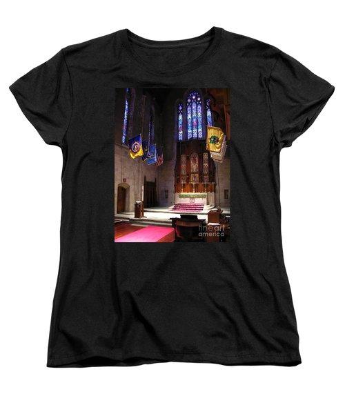 Women's T-Shirt (Standard Cut) featuring the photograph  Egner Memorial Chapel Altar by Jacqueline M Lewis