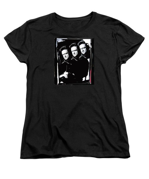 Women's T-Shirt (Standard Cut) featuring the photograph Multiple Johnny Cash Sitting Old Tucson Arizona 1971-2008 by David Lee Guss