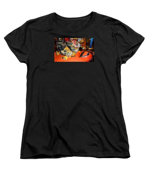 My Battle Scarred Roller Derby Skates And Helmet   Women's T-Shirt (Standard Cut) by Jim Fitzpatrick