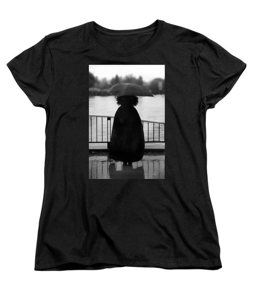 Women's T-Shirt (Standard Cut) featuring the photograph Lady At The Lake by Aaron Berg