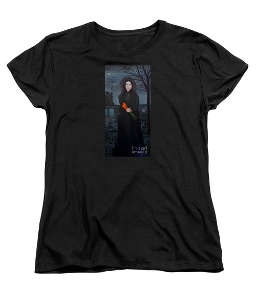 Women's T-Shirt (Standard Cut) featuring the painting Mystery by Myrna Walsh