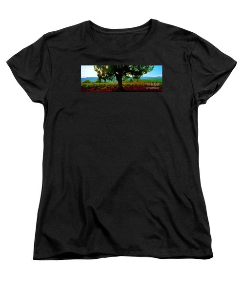 Women's T-Shirt (Standard Cut) featuring the photograph Napa Valley Ingenook Winery Roadside by Tom Jelen