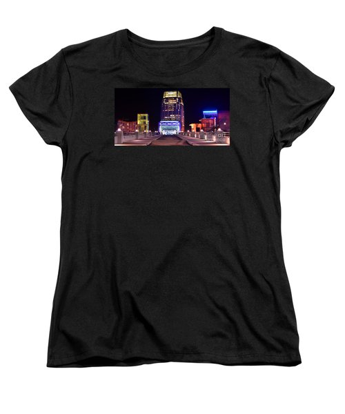 Nashville Sight Night Skyline Pinnacle Panorama Color Women's T-Shirt (Standard Cut) by Jon Holiday