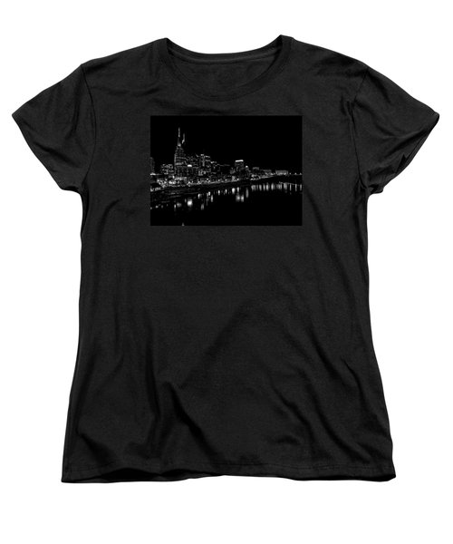Nashville Skyline At Night In Black And White Women's T-Shirt (Standard Cut) by Dan Sproul