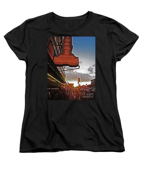 Women's T-Shirt (Standard Cut) featuring the photograph Nathan's Famous Coney Island Sunset Frankfurters by Andy Prendy