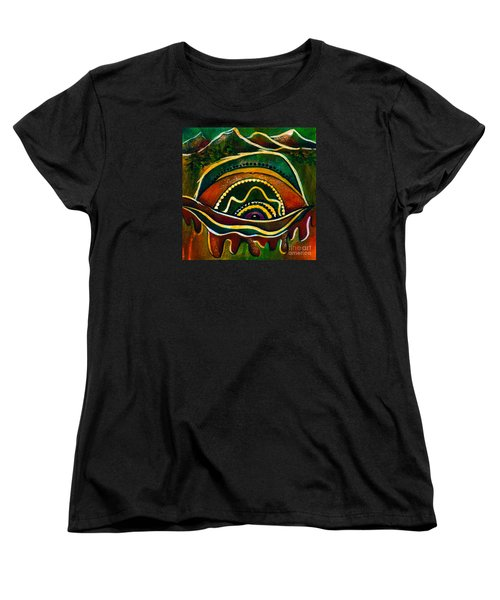 Women's T-Shirt (Standard Cut) featuring the painting Nature's Child Spirit Eye by Deborha Kerr