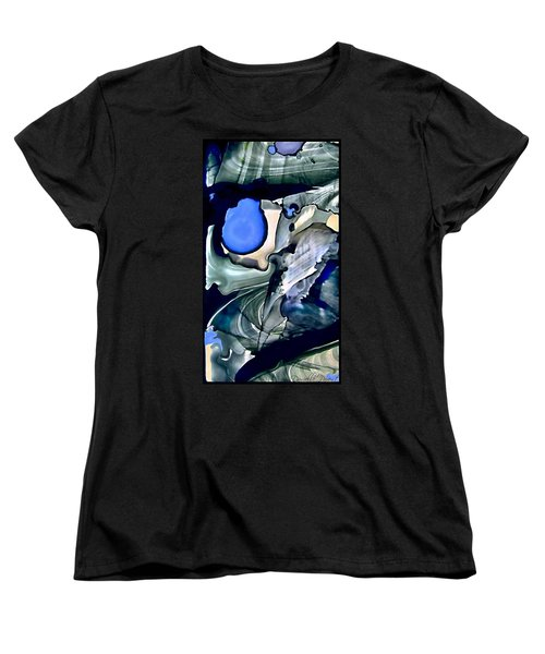 Women's T-Shirt (Standard Cut) featuring the painting Navy Blue Sage Abstract Alcohol Inks by Danielle  Parent