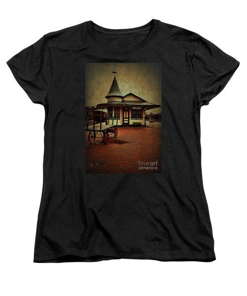 Women's T-Shirt (Standard Cut) featuring the photograph New Hope Ivyland Train Station by Debra Fedchin