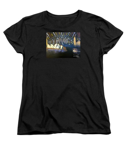Women's T-Shirt (Standard Cut) featuring the painting New Year Eve On Sydney Harbour by Pamela  Meredith
