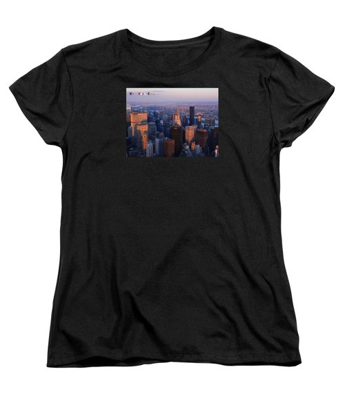 Women's T-Shirt (Standard Cut) featuring the photograph New York City At Dusk by Emmy Marie Vickers