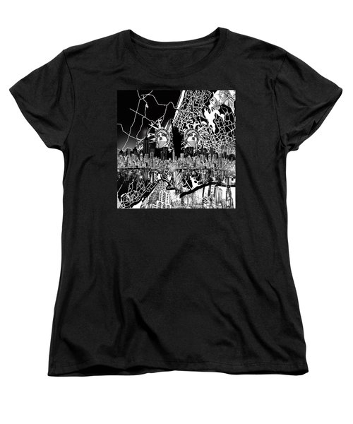 New York Map Black And White 2 Women's T-Shirt (Standard Cut) by Bekim Art