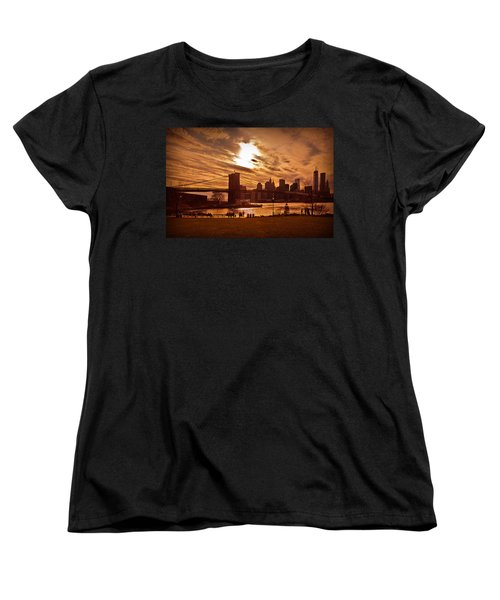 New York Skyline And Brooklyn Bridge -- Late Afternoon Women's T-Shirt (Standard Cut) by Mitchell R Grosky