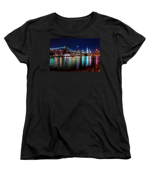 Women's T-Shirt (Standard Cut) featuring the photograph New York Skyline And Brooklyn Bridge With Crescent Moon Rising by Mitchell R Grosky