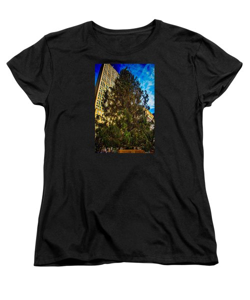 Women's T-Shirt (Standard Cut) featuring the photograph New York's Holiday Tree by Chris Lord