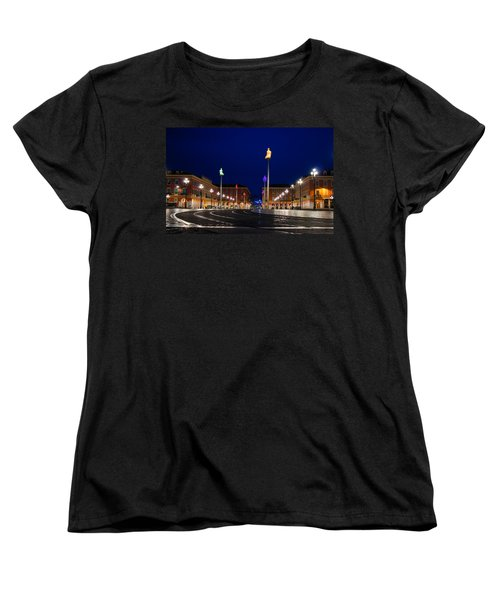 Women's T-Shirt (Standard Cut) featuring the photograph Nice France - Place Massena Blue Hour  by Georgia Mizuleva