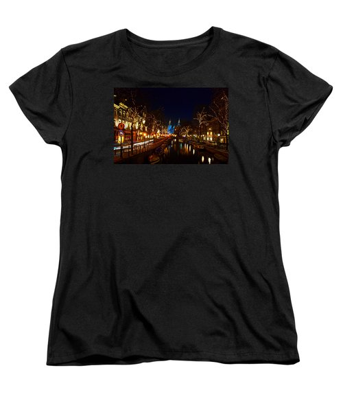 Nieuwe Spieglestraat At Night Women's T-Shirt (Standard Cut) by Jonah  Anderson