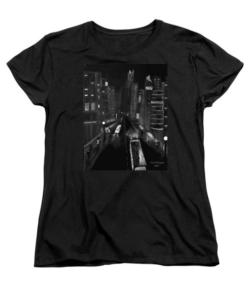 Night City Scape Women's T-Shirt (Standard Cut) by Dick Bourgault