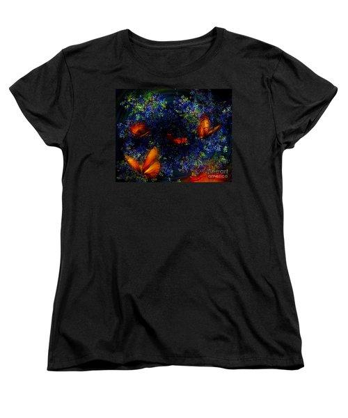 Women's T-Shirt (Standard Cut) featuring the digital art Night Of The Butterflies by Olga Hamilton