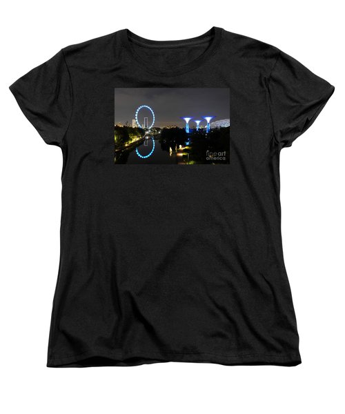 Night Shot Of Singapore Flyer Gardens By The Bay And Water Reflections Women's T-Shirt (Standard Cut) by Imran Ahmed